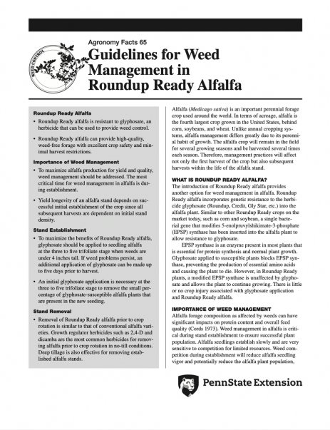 Guidelines for Weed Management in Roundup Ready Alfalfa