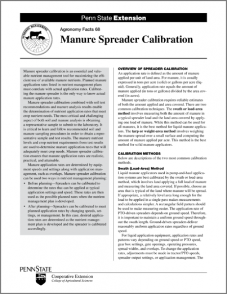 Manure Spreader Calibration