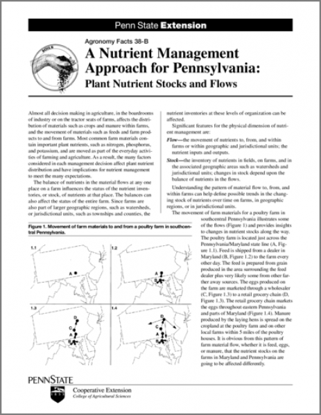 A Nutrient Management Approach for Pennsylvania: Plant Nutrient Stocks and Flows