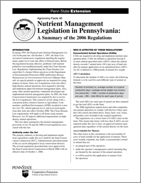 Nutrient Management Legislation in Pennsylvania