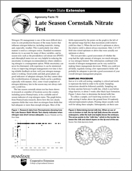 Late Season Cornstalk Nitrate Test