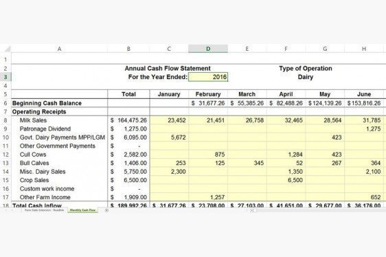 Penn State Monthly Cash Flow Spreadsheet