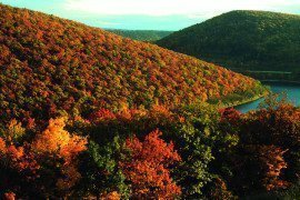 A river winds through forested mountains covered with autumn colors.