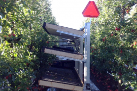 A multi-tier shake-and-catch harvesting platform (WSU design by Dr. He and team). Photo: Long He, Penn State