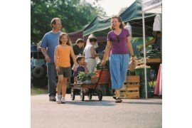 Image Credit: A family walking through a farmers' market is on SNAP-ed