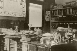 The original laboratory of S. W. Frost (entomologist) and R. C. Walton (plant pathologist) in the former Arendtsville Hotel, 1918-1922. Photo: Penn State Archives