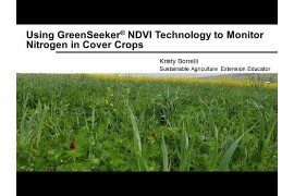 Using Greenseeker NDVI Technology to Monitor Nitrogen in Cover Crops