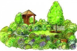 Beautiful garden landscapes, like the one in this illustration, can be obtained through smart and heathy management plans