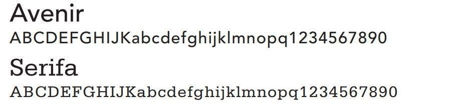 Print Typography - Avenir and Serifa